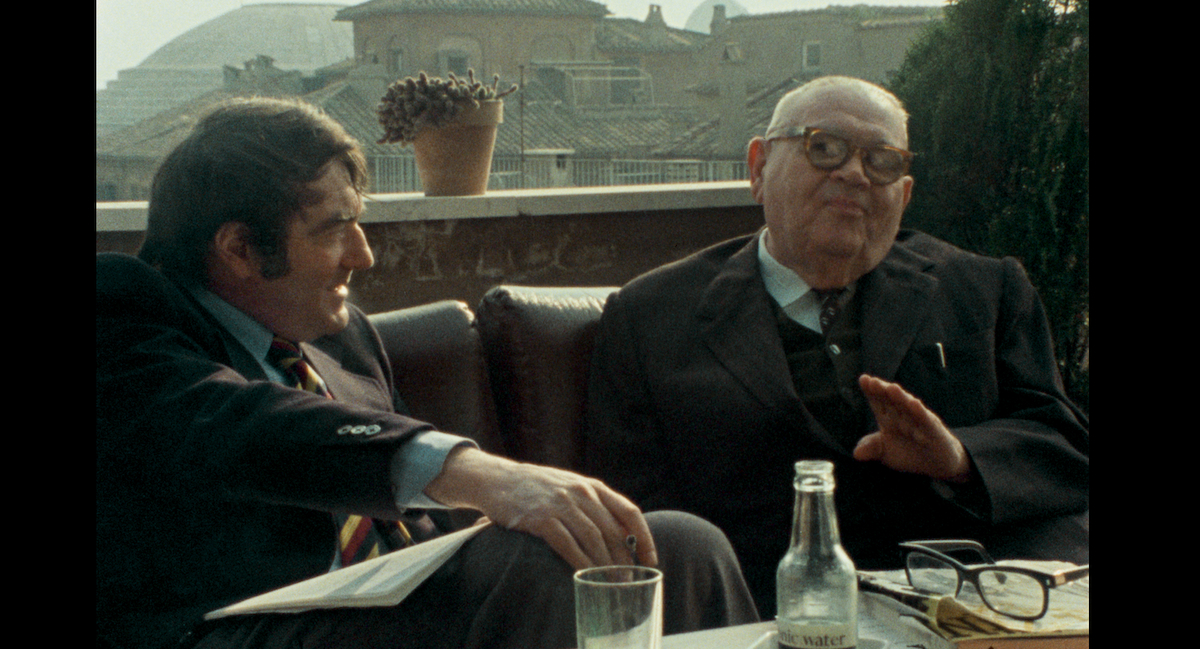 The Last of the Unjust (2013) documentary film by Claude Lanzmann, Lanzmann and Benjamin Murmelstein (right side) in Rome Courtesy Synecdoche & Le Pacte Films
