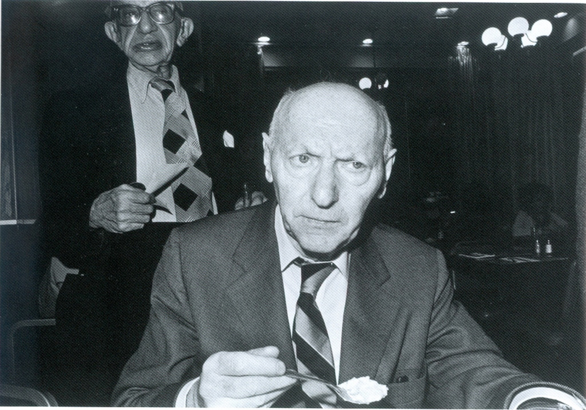 Isaac Bashevis Singer eating rice pudding (1975) gelatin silver print by Bruce Davidson Collection of the artist, courtesy of the Howard Greenberg Gallery.   © Bruce Davidson Magnum Photos.