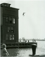 Boy Jumping into the Hudson River (1948) Gelatin silver print by Ruth Orkin Courtesy The Jewish Museum