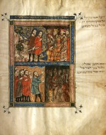 Plague of Locusts & Plague of Darkness (ca.1330) Tempera, gold, ink on parchment: Rylands Haggadah Courtesy The John Rylands University Library, University of Manchester, England