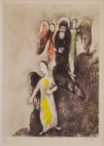 Descent Towards Sodom (1957) hand-colored etching by Marc Chagall Courtesy Haggerty Museum of Art, Gift of Patrick and Beatrice Haggerty Marc Chagall © 2012 Artists Rights Society (ARS), New York / ADAGP, Paris.
