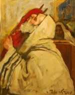 Rabbi in Prayer with Torah, oil on canvas, by Jankel Adler  Courtesy of The Jewish Gallery