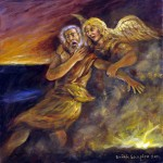 Jacob and the Angel (2011), oil on canvas, 22 x 22 by Brian Shapiro Courtesy the artist