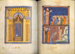 The Synagogue, illuminated manuscript, pages 33 & 34, ink and color on vellum (ca.1350)