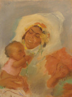 Rebecca with Sons Jacob and Esau (1940), pastel on paper by Abel Pann Courtesy Mayanot Gallery, Jerusalem
