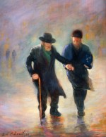 Walking to the Synagogue (2005), oil on canvas by Zvi Malnovitzer Private Collection, New York